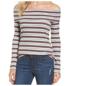 Halogen Rib Knit Striped Off The Shoulder Top XS